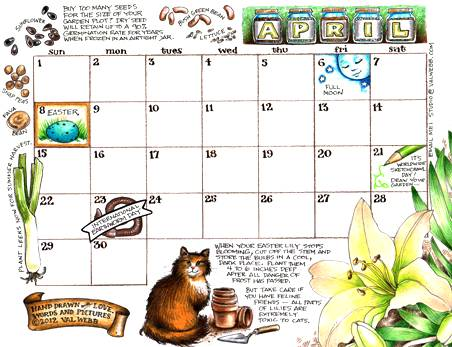 The April calendar page has sprouted valwebbcom